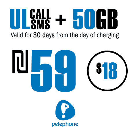 Pelephone Unlimited Calls and SMS + 50GB for 30 Days